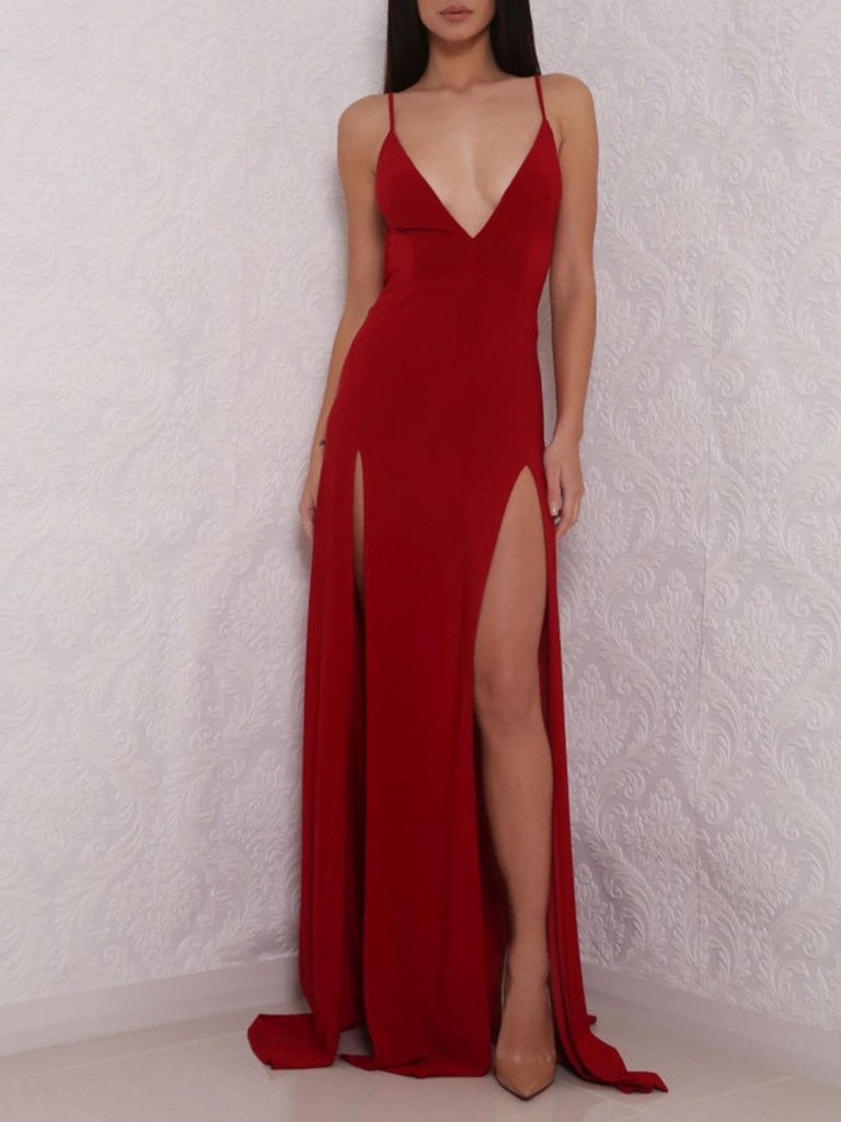 A Line V Neck Burgundy Prom Dress with High Slit, Burgundy Formal Graduation Dresses