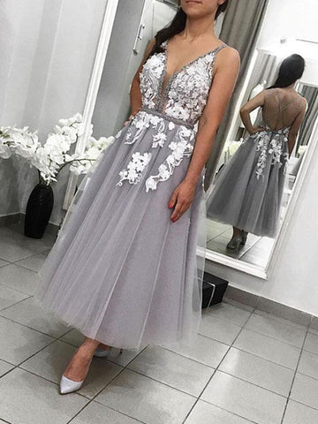 A Line V Neck Backless Tea Length Gray Lace Prom Dresses, Grey Lace Formal Graduation Cocktail Dresses, Backless Lace Homecoming Dreses