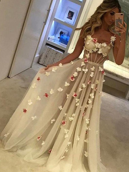 Custom Made A Line Sweetheart Neck Floral Prom Dresses, Floral Formal Graduation Dresses