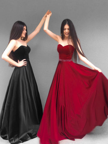 Custom Made Sweetheart Neck Floor Length Black/Red Prom Dresses, Black/Red Formal Evening Dresses