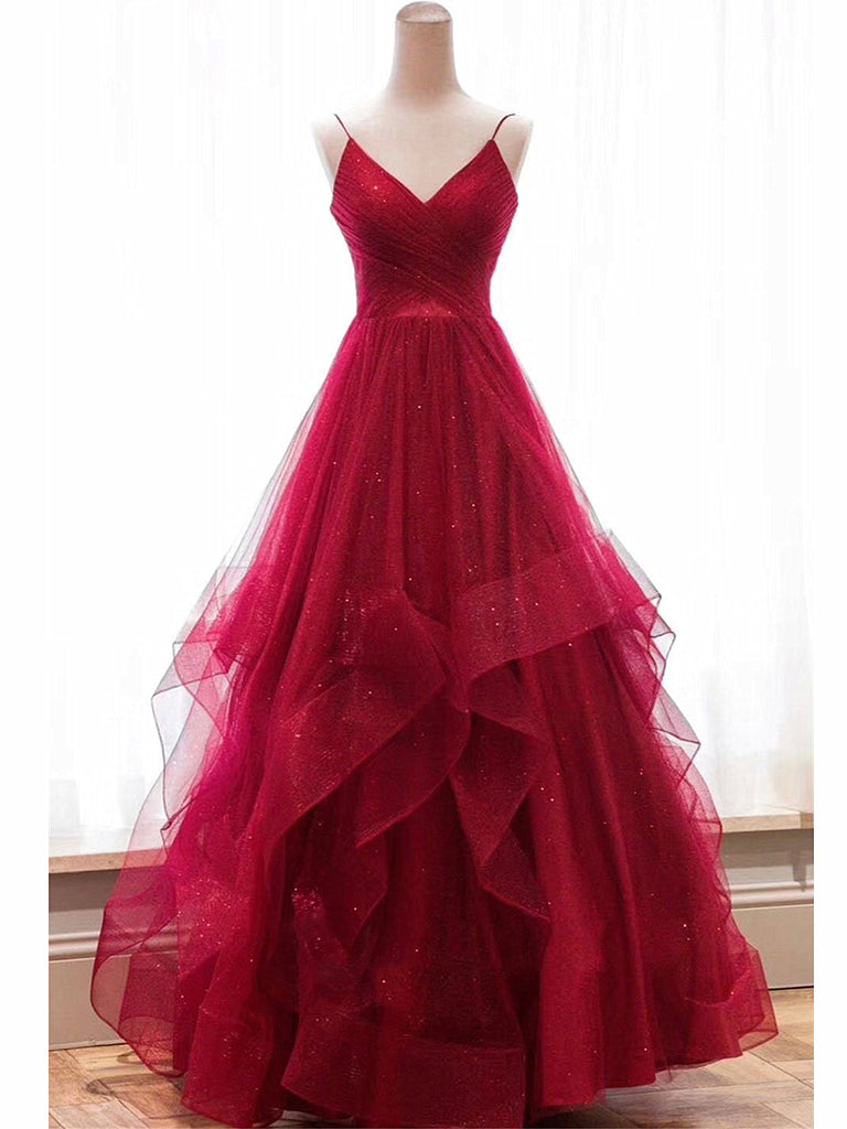 V Neck Backless Burgundy Prom Dresses, Burgundy Backless Wedding Dresses, Burgundy Prom Gown