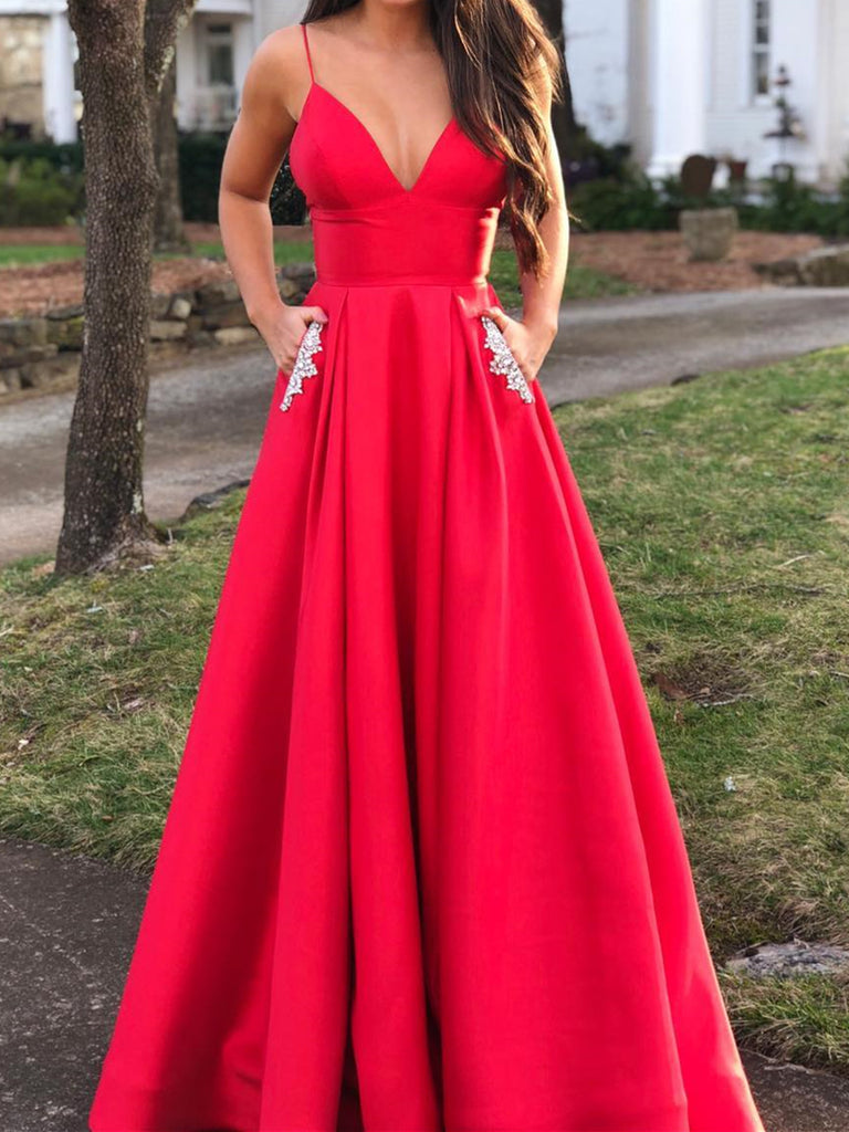 A Line V Neck Red Prom Dresses with Pockets, Red V Neck Formal Graduation Evening Dress with Pockets