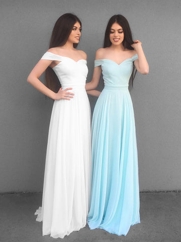 Custom Made A Line Off Shoulder White/Blue Prom Dresses, White/Blue Off Shoulder Formal Evening Bridesmaid Dresses