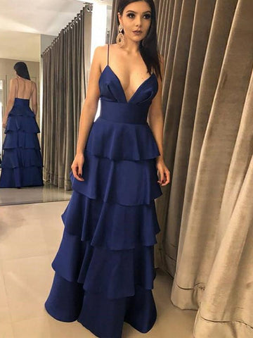 A Line V Neck Backless Dark Navy Blue Prom Dresses, Navy Blue Backless Formal Graduation Evening Dresses