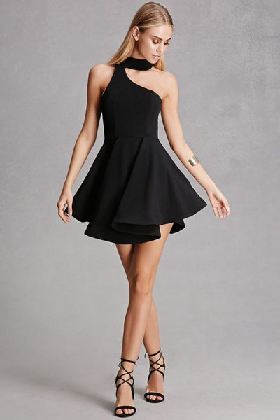 A Line Short Black/Champagne Prom Dress with Halter Neck, Short Black/Champagne Formal Graduation Homecoming Dresses