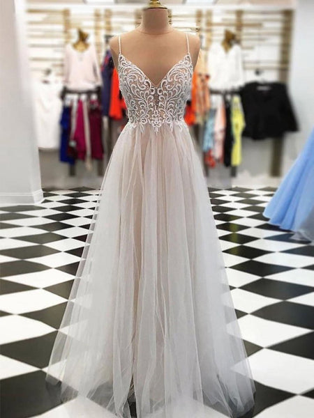 V Neck Floor Length Champagne Lace Prom Dresses, Champagne Lace Wedding Dresses, Evening Dresses
