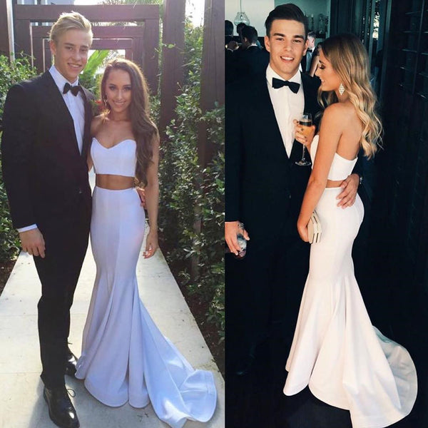 White Sweetheart Neck Mermaid Prom Dresses, White Mermaid Formal Graduation Evening Dresses