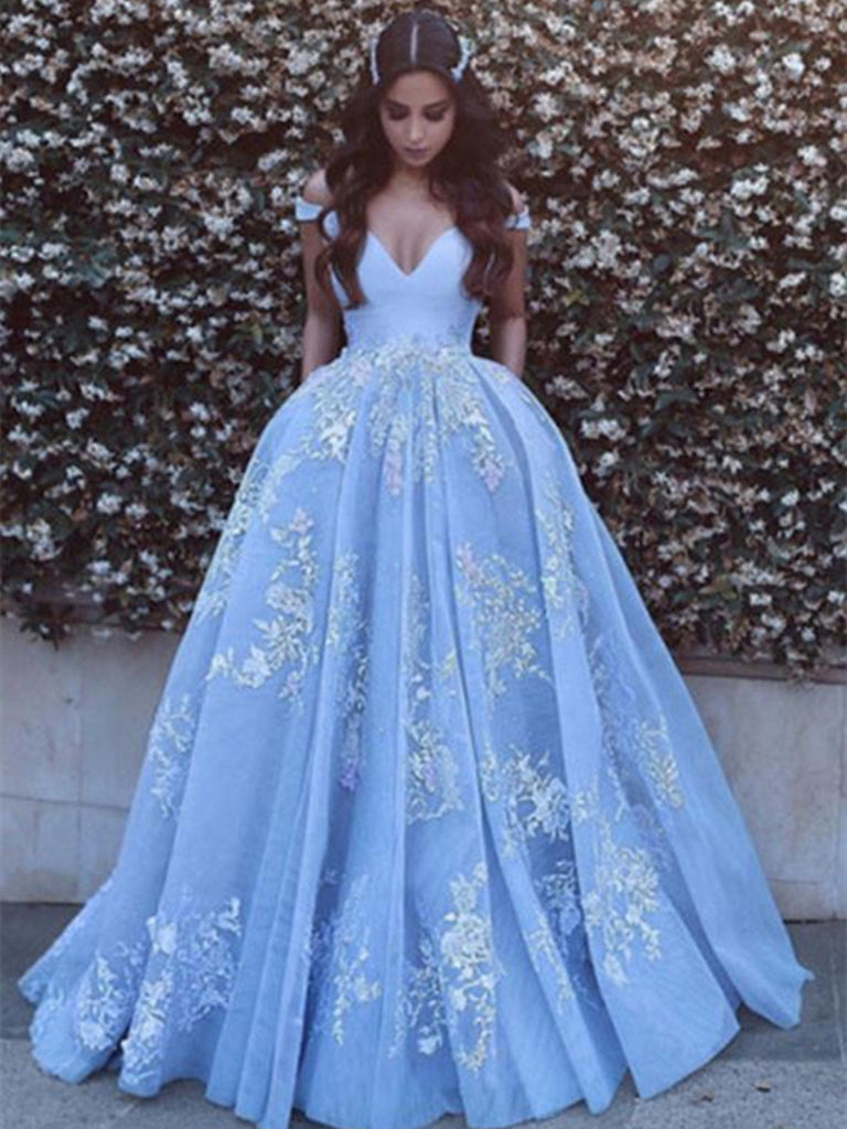 Off Shoulder Light Blue Prom Dress with Lace Applique, Prom Gown, Light Blue Formal Dress