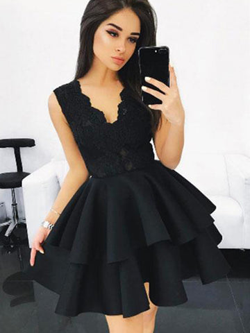 Custom Made Short Black Lace Prom Dresses, Short Black Lace Formal Graduation Evening Dresses