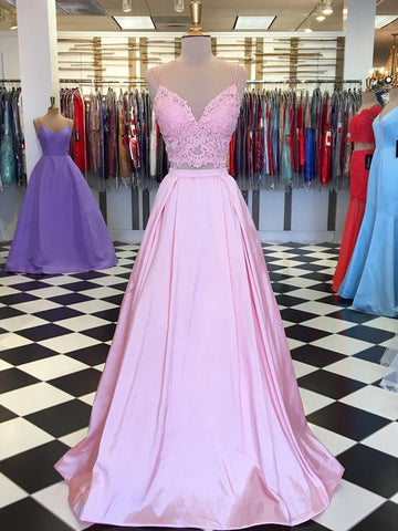 A Line V Neck 2 Pieces Pink Lace Prom Dresses, Pink 2 Pieces Lacce Formal Graduation Evening Dresses