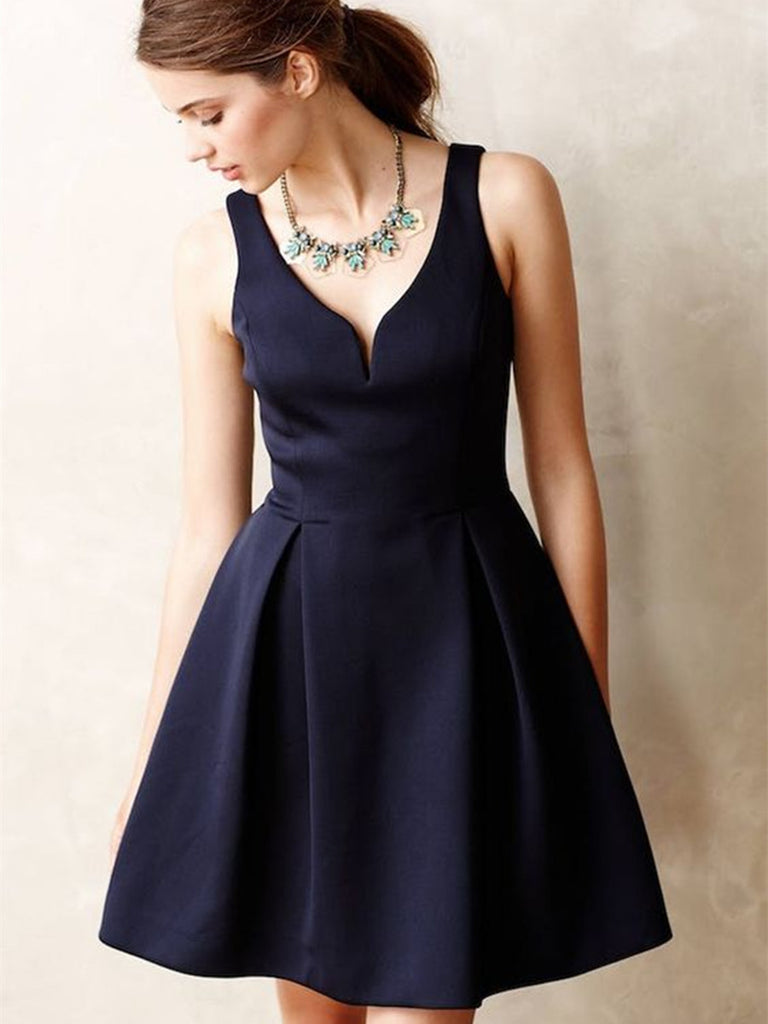 A Line V Neck Short Navy Blue Prom Dresses, Navy Blue Homecoming Dresses, Short Graduation Dresses