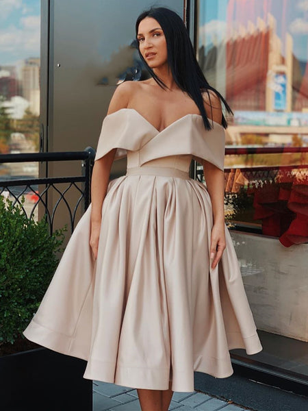 Off Shoulder Short Champagne Prom Dresses, Short Champagne Formal Homecoming Graduation Dresses