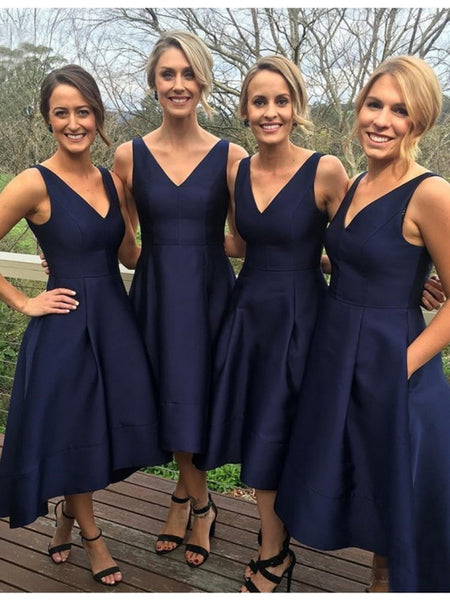 Dark Blue A Line V Neck High Low Prom Dress, Navy Blue Graduation Dress, Homecoming Dress, Bridesmaid Dress