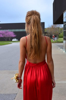 Custom Made A Line V Neck Red Backless Prom Dress, Red Backless Formal Dress, Graduation Dress