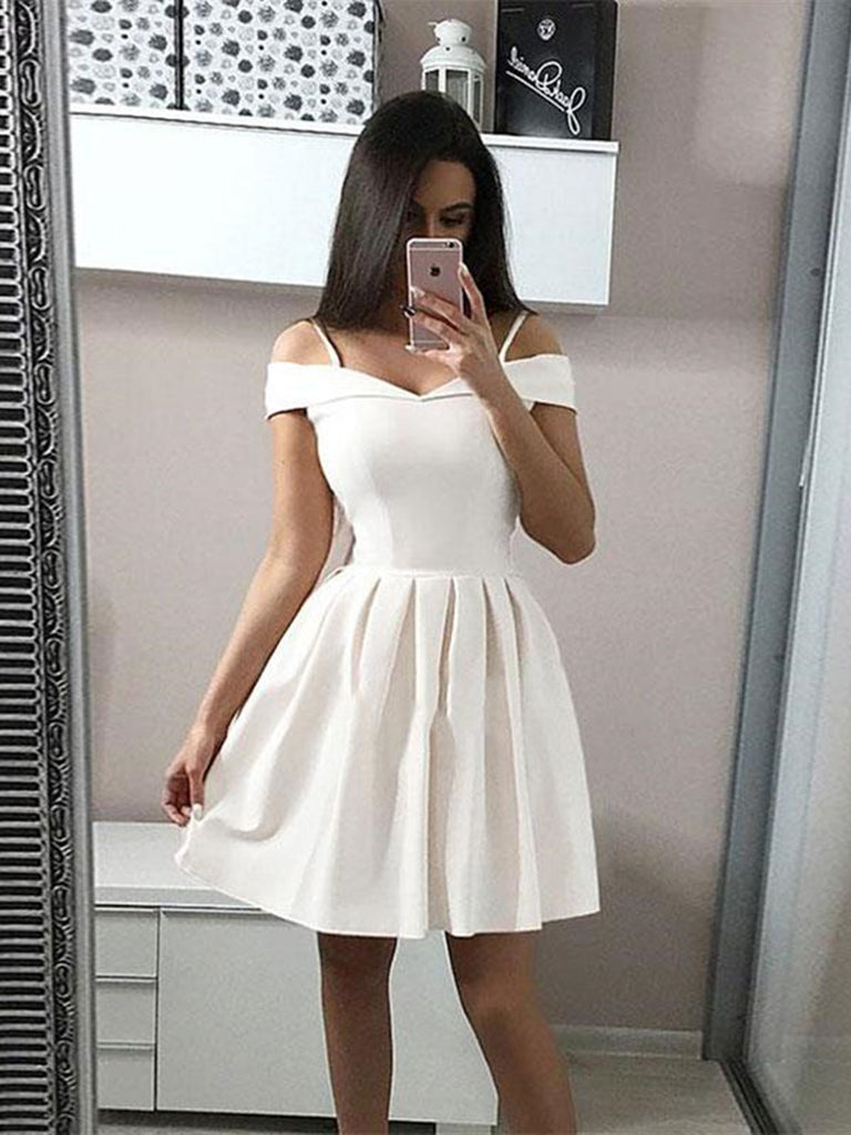 Custom Made A Line Short White Off Shoulder Prom Dresses, Short Formal Dresses, Off Shoulder White Graduation Dresses/Homecoming Dresses