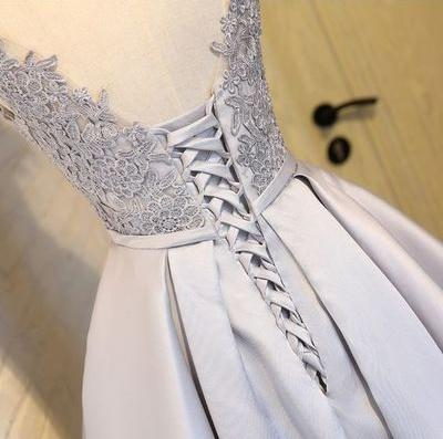 A Line Silver Short Lace Prom Dresses, Short Lace Homecoming Dresses, Formal Dresses