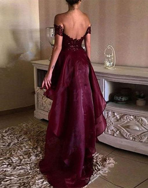 High Low Organza Maroon Lace Prom Dress, High Low Formal Dress, Maroon Lace Graduation Dress, Maroon High Low Homecoming Dress
