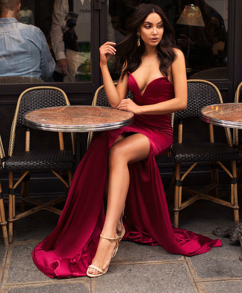 Sweetheart Neck Burgundy Mermaid Prom Dress with Leg Slit, Burgundy Mermaid Formal Graduation Evening Dresses