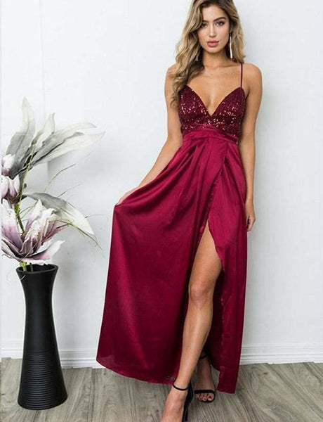 A Line V Neck Burgundy Backless Prom Dresses, Wine Red Beaded Backless Graduation Evening Formal Dresses
