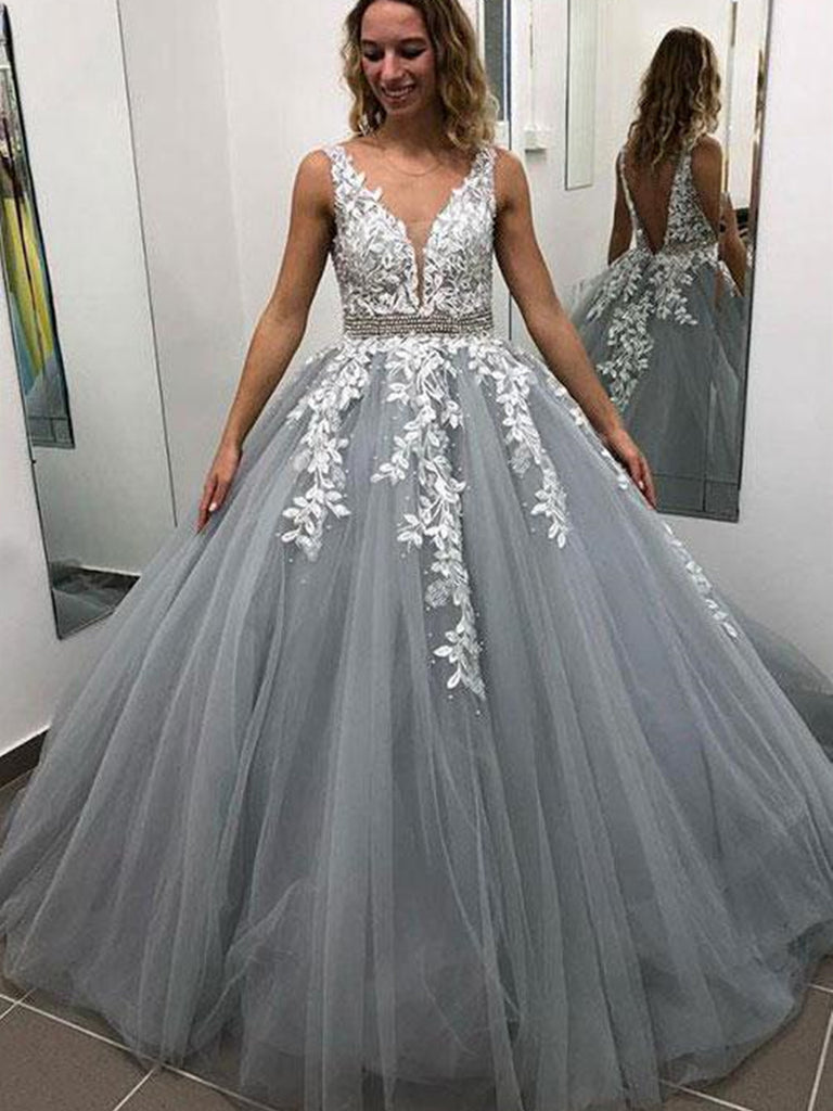 V Neck Backless Gray Lace Prom Dresses, Gray Backless Lace Formal Graduation Evening Dresses