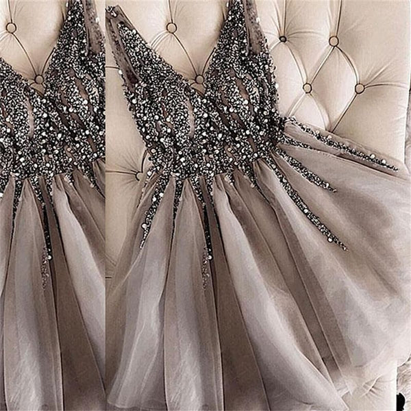 A Line V Neck Beaded Short Sliver Gray Prom Dresses, Short Beaded Homecoming Dresses, Silver Gray Graduation Dresses, Formal Dresses