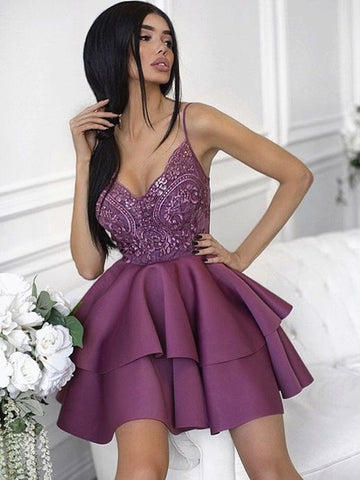 Sweetheart Neck Short Purple Lace Prom Dresses, Short Purple Lace Homecoming Graduation Cocktail Dresses