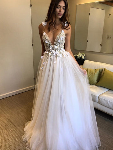 Ivory V Neck Backless Beaded Wedding Dresses with 3D Flowers, Ivory Backless Floral Prom Dresses Evening Dresses