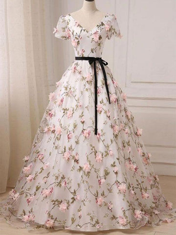 Custom Made V Neck Short Sleeves 3D Flower Prom Dresses, 3D Flower Graduation Dresses, Formal Dresses