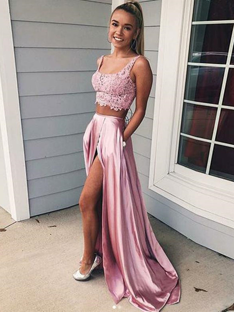 2 Pieces Pink Lace Prom Dresses, Two Pieces Pink Lace Formal Graduation Evening Dresses