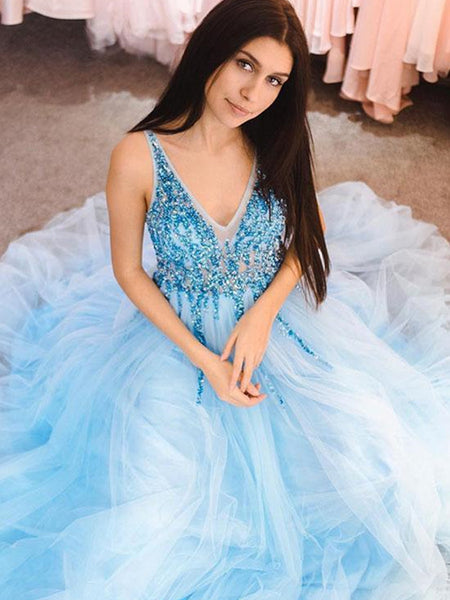 Custom Made A Line V Neck Blue Prom Dress with Sequins, Light Blue V Neck Formal Dresses, Graduation Dress