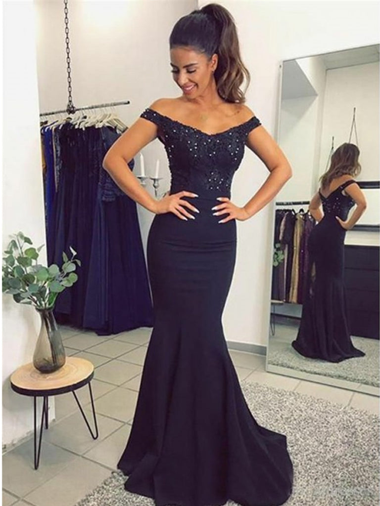 Off Shoulder Navy Blue Lace Mermaid Prom Dresses, Navy Blue Lace Bridesmaid Evening Formal Dresses