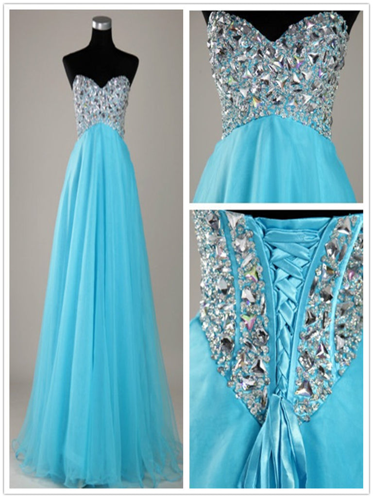 A Line Sweetheart Neck Blue Floor Length Prom Dresses