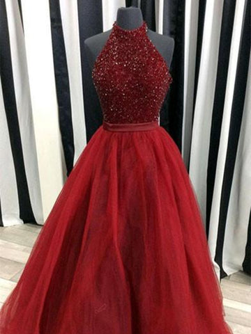 A Line Burgundy Prom Dress, Burgundy Long Formal Dress, Evening Dress with Tulle and Beading