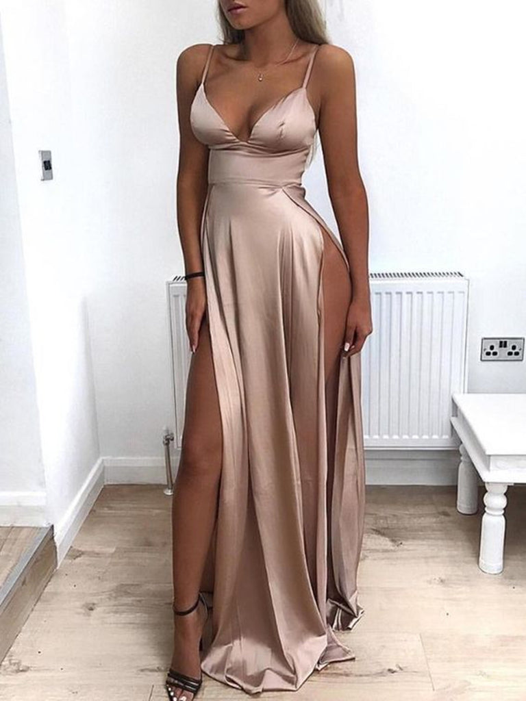 A Line Sweetheart Neck Prom Dress with Slit, Sexy Slit Evening Dresses, Formal Dresses, Party Dresses