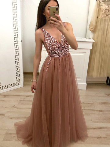 A Line V Neck Beaded Champagne Tulle Prom Dresses with Corset Back, Beaded Champagne Formal Evening Dress with Corset Back
