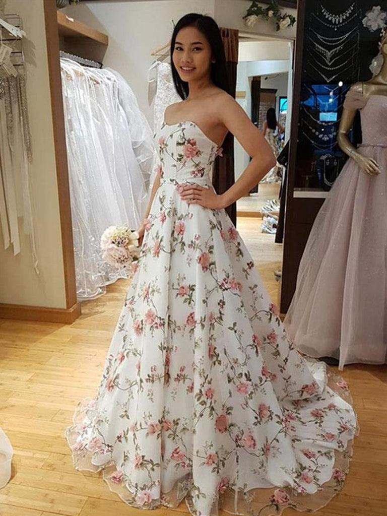 Custom Made Sweetheart Neck White Prom Dresses with 3D Flower, 3D Flower Formal Dresses