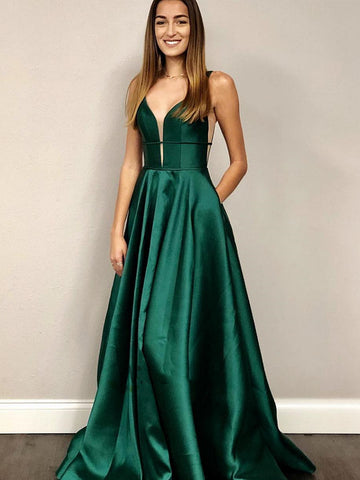 Deep V Neck Emerald Green Prom Dresses, V Neck Green Formal Graduation Evening Dresses