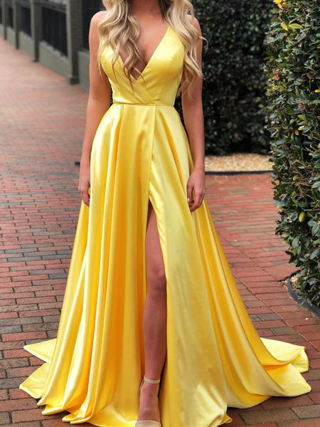 A Line V Neck Yellow/Royal Blue Prom Dress with High Leg Slit, Yellow/Royal Blue V Neck Formal Graduation Evening Dresses