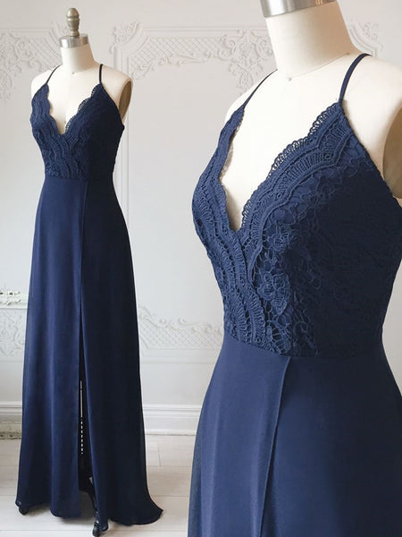 Spaghetti Straps Floor Length Navy Blue Lace Prom Dresses, Navy Blue Lace Formal Evening Bridesmaid Dresses