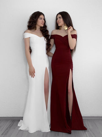 A Line Off Shoulder White/Burgundy Prom Dresses, Off Shoulder White/Burgundy Formal Graduation Dresses