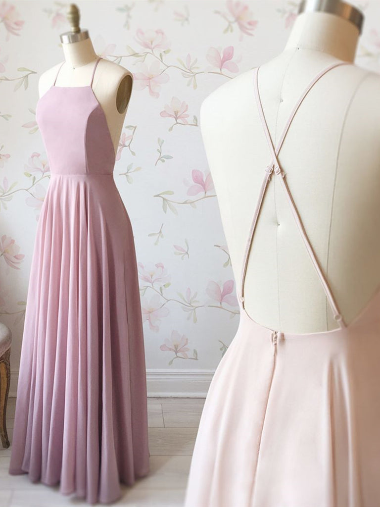 A Line Pink Backless Prom Dresses, Pink Backless Formal Graduation Evening Dresses