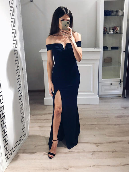 Floor Length Off Shoulder Black Prom Dresses, Off Shoulder Black Floor Length Evening Formal Graduation Dresses with Leg Slit