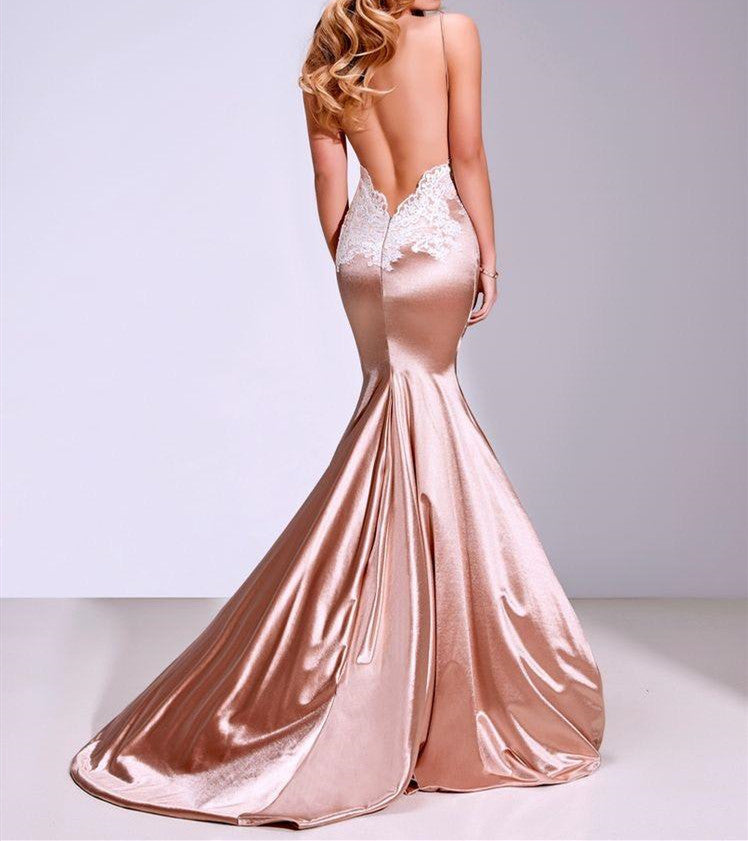 df939112cdd ... Custom Made Mermaid Champagne Lace Prom Dresses