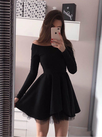 Custom Made Long Sleeves Short Black Prom Dresses, Short Black Long Sleeves Formal Evening Graduation Dresses