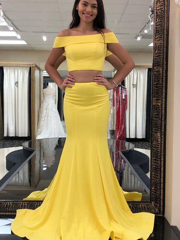 2 Pieces Off Shoulder Mermaid Yellow Prom Dresses, 2 Pieces Yellow Mermaid Formal Graduation Evening Dresses