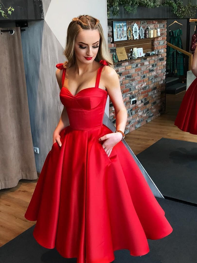 68b2b212215 Red Sweetheart Neck Tea Length Prom Gown with Pocket
