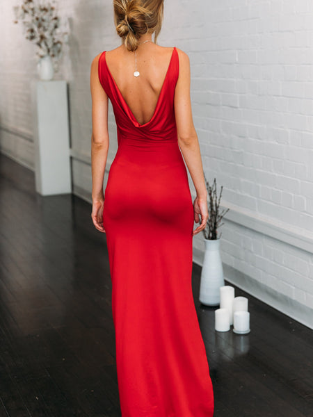 Red Mermaid Prom Dresses with High Slit, Red Mermaid Formal Graduation Evening Dresses