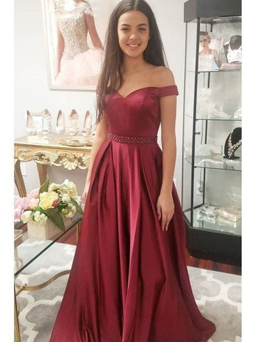 Custom Made Off Shoulder Burgundy Prom Dresses, Burgundy Off Shoulder Formal Evening Grad Dresses