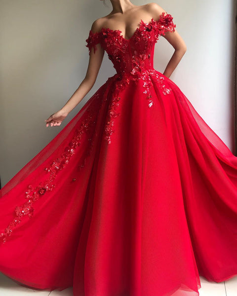 Sweetheart Neck Off Shoulder Red Lace Prom Dresses Long, Off The Shoulder Red Long Lace Formal Graduation Evening Dresses