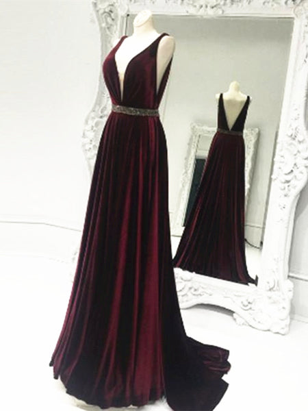 A Line V Neck Burgundy Sweep Train Prom Dresses, V Neck Formal Dresses